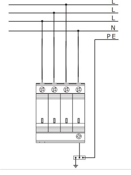 Sơ đồ chống sét AC 3 pha 4 cực cấp 2 công nghệ MOV 40kA V50/420