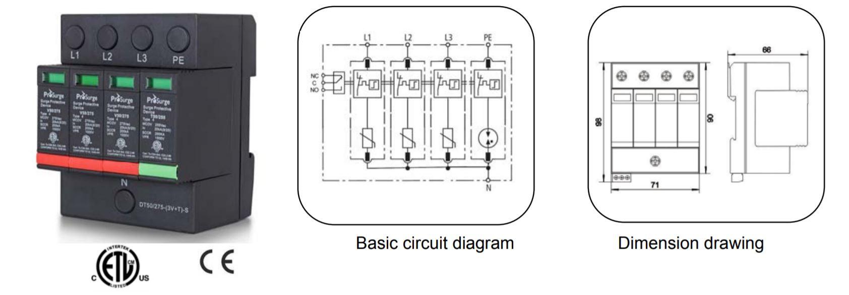 sét cấp 1+2 công nghệ MOV 3P+N 200kA DT50/420-(3V+T)(-S) Prosurge: